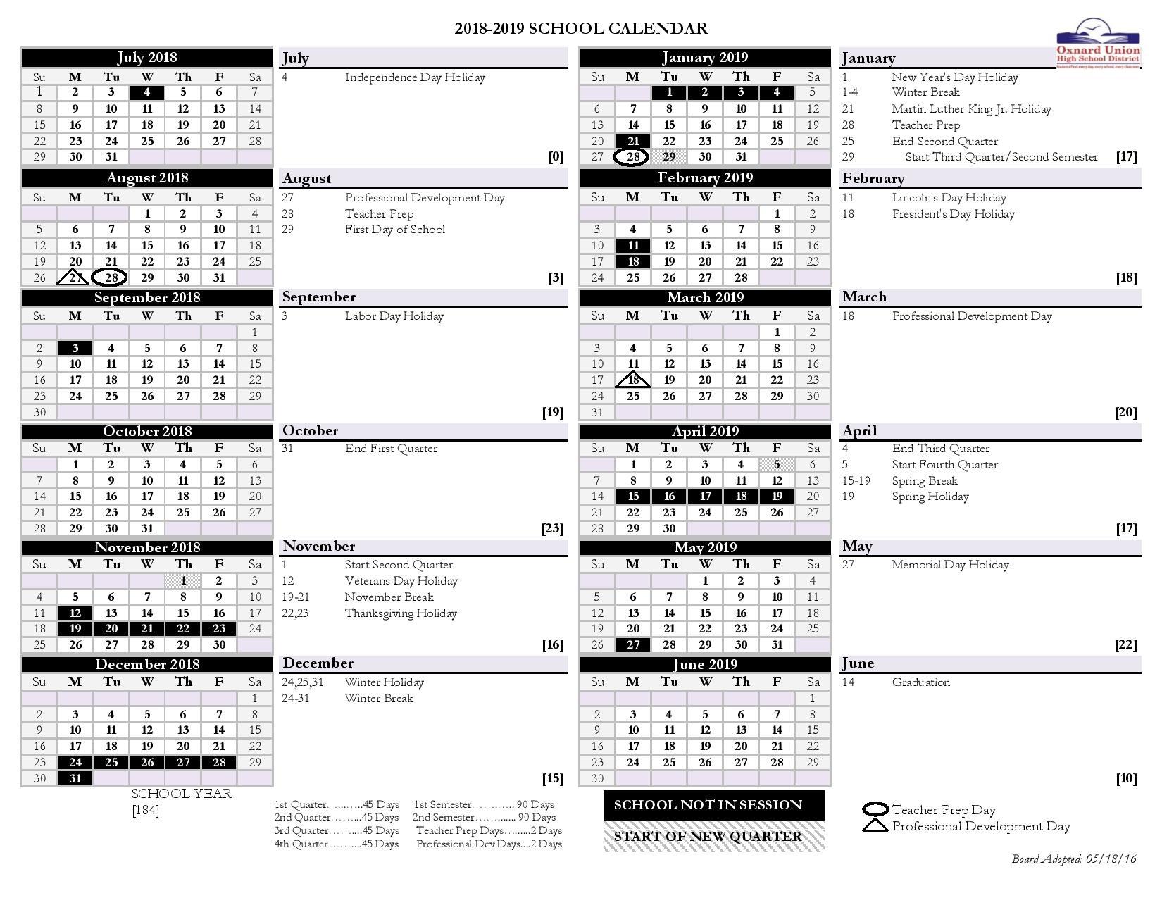 Ouhsd 2018 2019 District Calendar Monarchs Ptsa